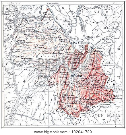 Topographical Map of Isere in Rhone-Alpes, France, vintage engraved illustration. Dictionary of Words and Things - Larive and Fleury - 1895