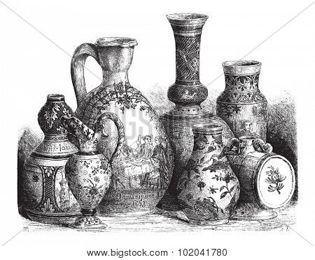 Various Earthenwares, found in Nevers, France, vintage engraved illustration. Le Magasin Pittoresque - 1874