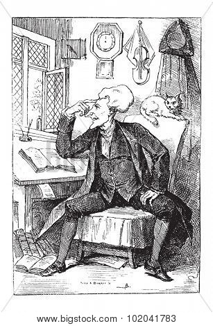 Doctor Syntax Reflecting on his Book Readings, by Thomas Rowlandson, vintage engraved illustration. Le Magasin Pittoresque  - 1874