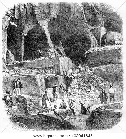 Internal View of the Marble Quarries of Echaillon in Isere, France, vintage engraved illustration. Le Magasin Pittoresque - Larive and Fleury - 1874