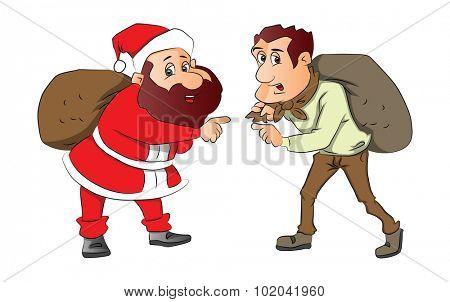 Vector illustration of santa and burglar pointing with sacks on their back.