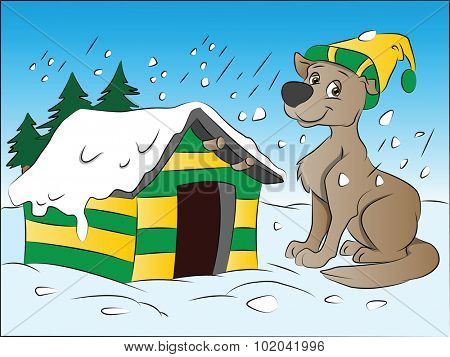 Dog in Winter, vector illustration