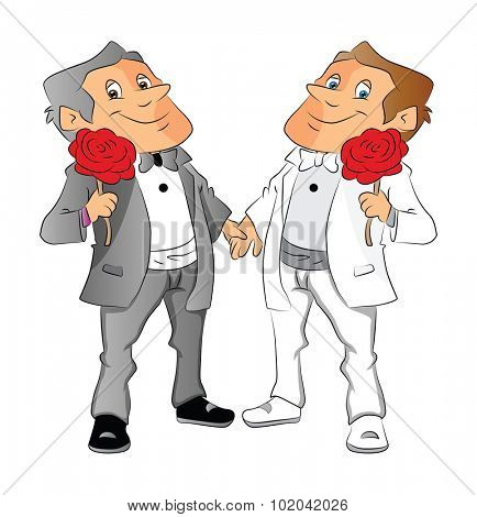 Vector illustration of homosexual couple holding red rose.