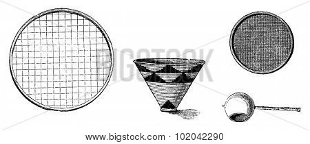Utensils from Bie in Angola in Southern Africa - Large Sieve for Drying Rice, Water Pail, Cloth Strainer, Large Spoon for Basting, vintage illustration. Le Tour du Monde, Travel Journal, 1881