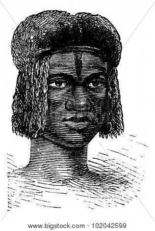 Zambo Female from Africa, engraving based on the English edition, vintage illustration. Le Tour du Monde, Travel Journal, 1881