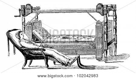 Device to exit the patient out of the bed and sit in a chiar, vintage engraved illustration. Usual Medicine Dictionary - Paul Labarthe - 1885.