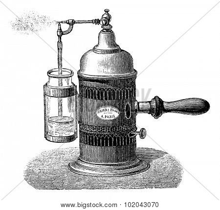 Sprayer, vintage engraved illustration. Usual Medicine Dictionary by Dr Labarthe - 1885