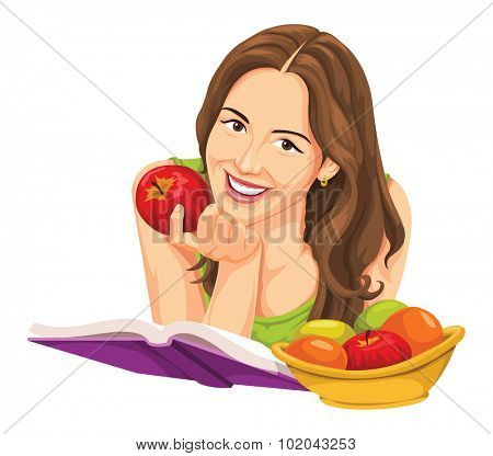 Vector illustration of happy young woman with apple, reading a book.