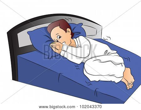 Vector illustration of frightened boy in bed.