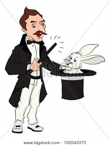 Vector illustration of magician pulling out rabbit from his hat.