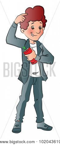 Vector illustration of a stylish and happy man spraying perfume underarms.