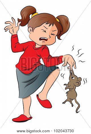 Vector illustration of rat biting screaming girl's finger.