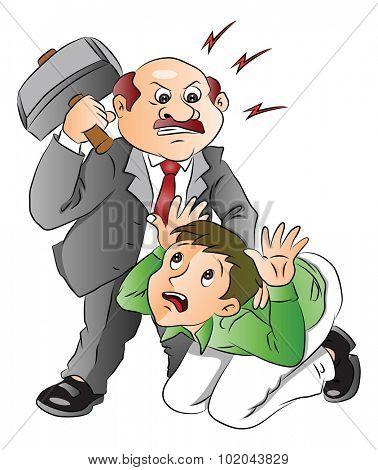 Vector illustration of aggressive boss hitting his employee.