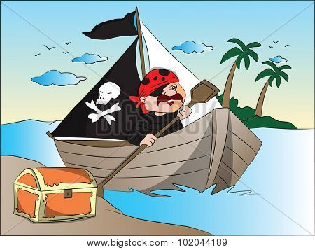 Vector illustration of pirate's boat and treasure chest at riverbank.
