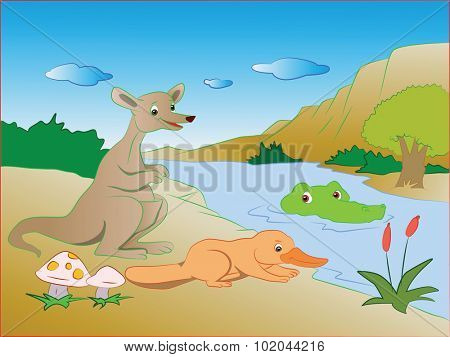 Vector illustration of crocodile sneaking on kangaroo and platypus on lakeside.