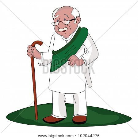 Vector illustration of senior man with stick, walking outdoors.