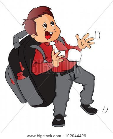 Vector of schoolboy struggling to carry heavy and oversized schoolbag.