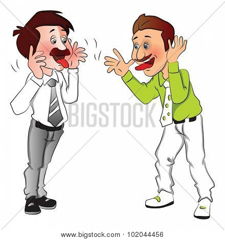 Vector illustration of two businessmen making funny faces.
