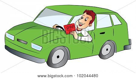 Vector illustration of happy young man driving car and showing rap sign.