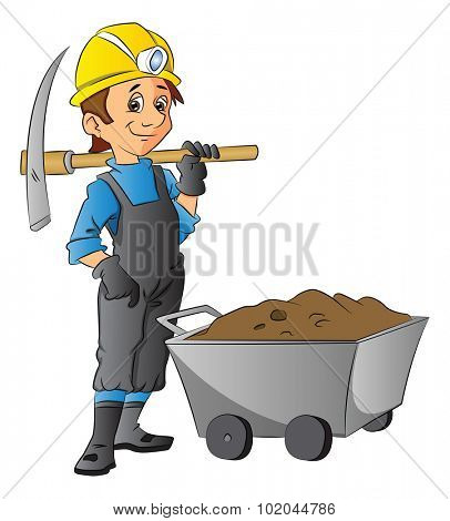 Vector illustration of construction worker holding pickaxe next to wheelbarrow full of mud.