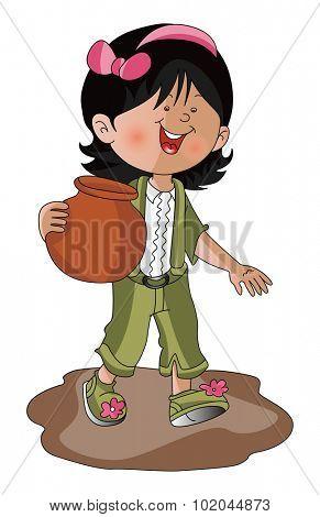 Vector illustration of happy girl carrying earthen pot.
