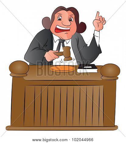 Vector illustration of judge pointing upward and holding a gavel
