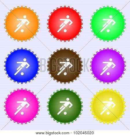 Football Player Icon. A Set Of Nine Different Colored Labels. Vector