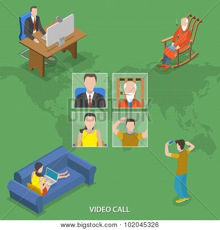 Video call isometric flat vector concept.