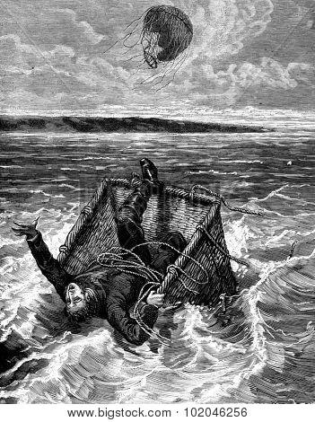 Prince found death in the waves of the brave, vintage engraved illustration. Journal des Voyages, Travel Journal, (1879-80).