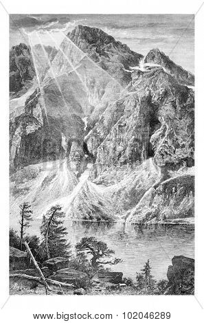 Gorka Wieruszowska and the Fish Lake in Lodz, Poland, drawing by G. Vuillier, from a photograph by Dr. Gustave le Bon, vintage engraved illustration. Le Tour du Monde, Travel Journal, 1881