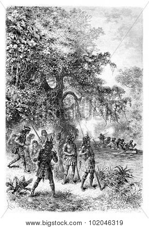 Arrival by Boat at the Village of Coreguaje in Amazonas, Brazil, drawing by Riou from a photograph, vintage engraved illustration. Le Tour du Monde, Travel Journal, 1881