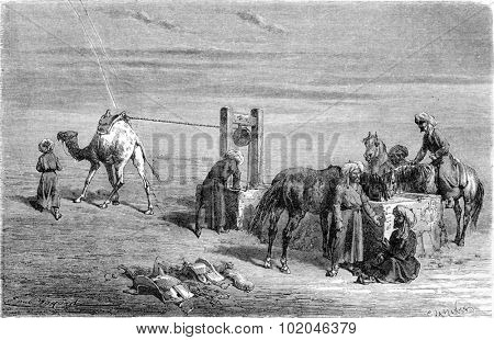 A well in the Desert (between Samarkand and Karshi), vintage engraved illustration. Le Tour du Monde, Travel Journal, (1865).