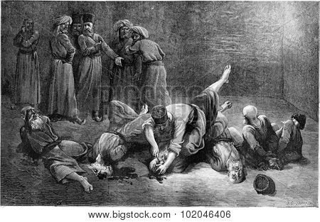 The torture of prisoners in Khiva. vintage engraved illustration. Le Tour du Monde, Travel Journal, (1865).