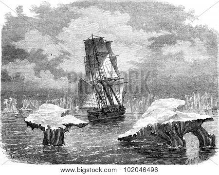 The corvette research in ice, vintage engraved illustration. Le Tour du Monde, Travel Journal, (1865).