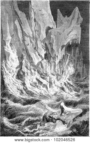 Collapse of ice. vintage engraved illustration. Le Tour du Monde, Travel Journal, (1865).