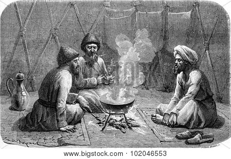 Turkmen inside the tent. vintage engraved illustration. Le Tour du Monde, Travel Journal, (1865).