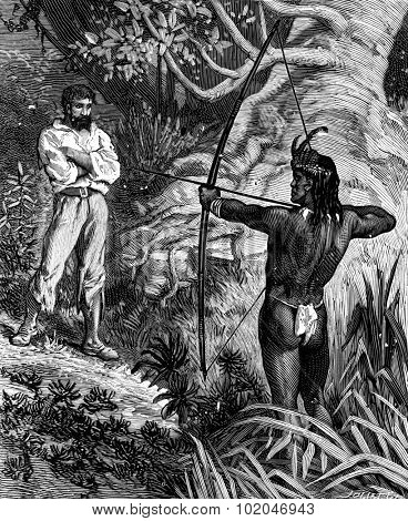 Robinson Crusoe the guyana. A red-skin appeared stretched his bow, vintage engraved illustration. Journal des Voyage, Travel Journal, (1880-81).