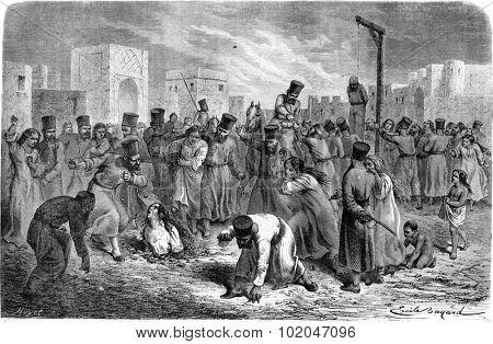 Torture adults in Khiva. vintage engraved illustration. Le Tour du Monde, Travel Journal, (1865).