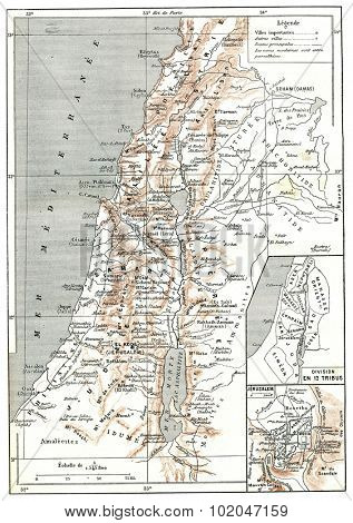 Map of Palestine, vintage engraved illustration. Dictionary of words and things - Larive and Fleury - 1895.