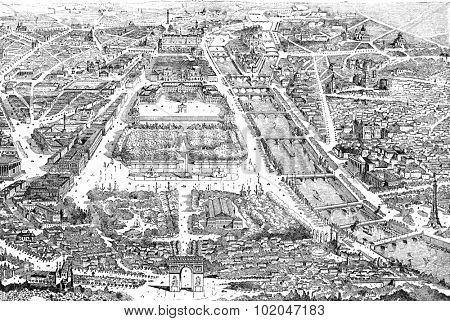 Panorama of paris in 1889, vintage engraved illustration. Dictionary of words and things - Larive and Fleury - 1895.