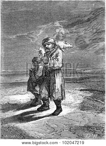 Peasant carrying a frozen piglet, vintage engraved illustration. Le Tour du Monde, Travel Journal, (1865).