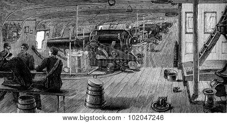 Life on board. The battery, vintage engraved illustration. Journal des Voyages, Travel Journal, (1879-80).