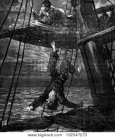 Bandits of the sea pushed abruptly, vintage engraved illustration. Journal des Voyages, Travel Journal, (1879-80).