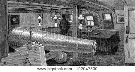 Life on board. The dining room, vintage engraved illustration. Journal des Voyages, Travel Journal, (1879-80).