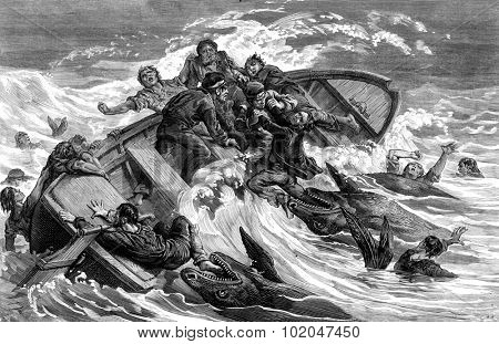 A crew devours by sharks, vintage engraved illustration. Journal des Voyages, Travel Journal, (1879-80).