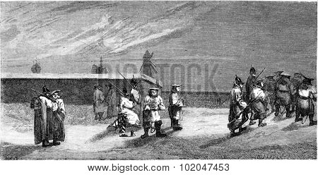 The convicts near the walls in Riga, vintage engraved illustration. Le Tour du Monde, Travel Journal, (1865).