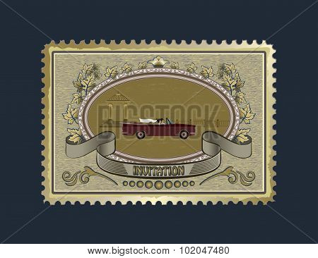 Postage stamp for wedding invitations
