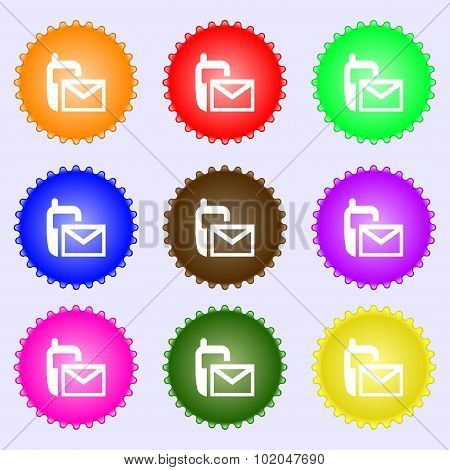 Mail Icon. Envelope Symbol. Message Sms Sign. A Set Of Nine Different Colored Labels. Vector