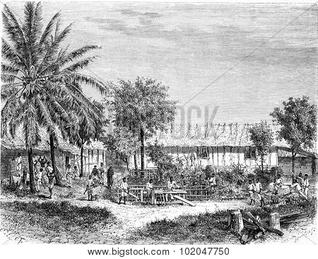 Establishment of the Catholic Mission in Gabon, vintage engraved illustration. Le Tour du Monde, Travel Journal, (1865).