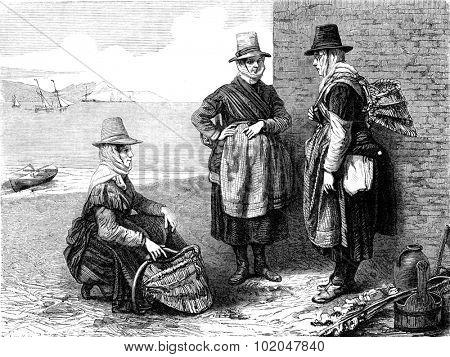 Fishmongers at Wales, vintage engraved illustration. Le Tour du Monde, Travel Journal, (1865).